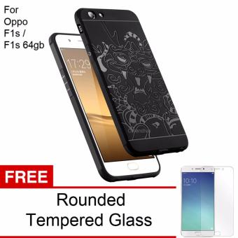 Calandiva Dragon Shockproof Hybrid Case for Oppo F1s / A59 / A59S 5.5 Inch - Hitam + Rounded Tempered Glass