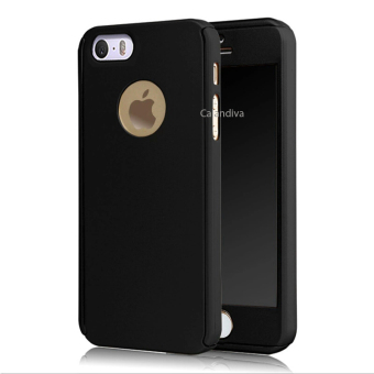 Calandiva Front Back Protection Case 360 Degree With Tempered Glass for Iphone 5 / 5s / 5SE 4.0 inch – Black