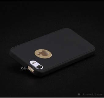Calandiva Front Back Protection Case 360 Degree With Tempered Glass for Iphone 5 / 5s / 5SE 4.0 inch - Black - 4