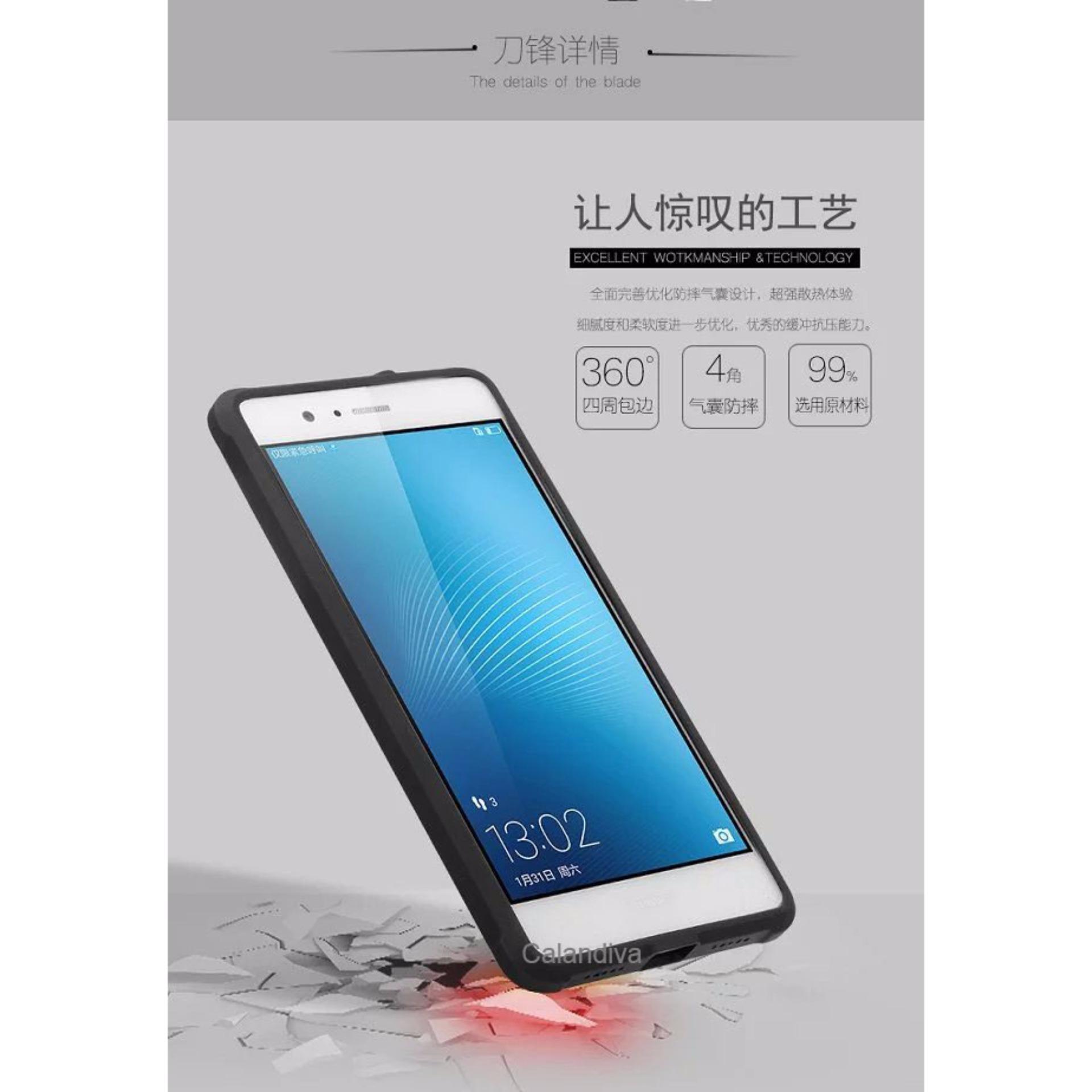 Calandiva Shockproof Hybrid Case for Huawei P9 Lite G9 Lite Hitam Rounded Tempered .