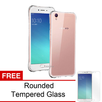 Calandiva Shockproof TPU Ultrathin Case untuk Oppo F1 Plus Clear Rounded Tempered Glass .