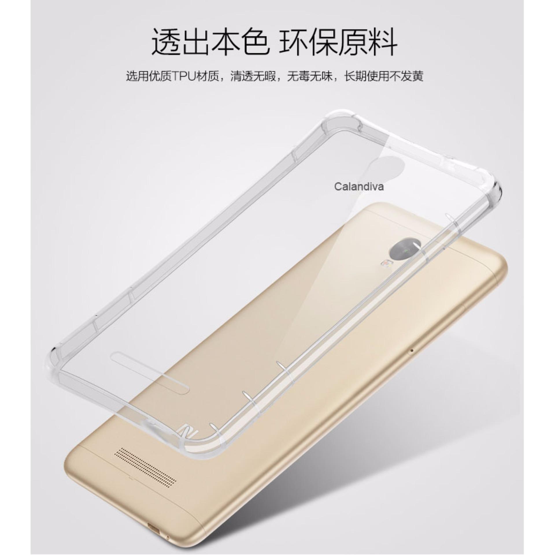 Calandiva Shockproof Tpu Ultrathin Case Untuk Xiaomi Redmi 2 Prime Luxury Tempered Glass Premium For Note 5 Hitam Pro