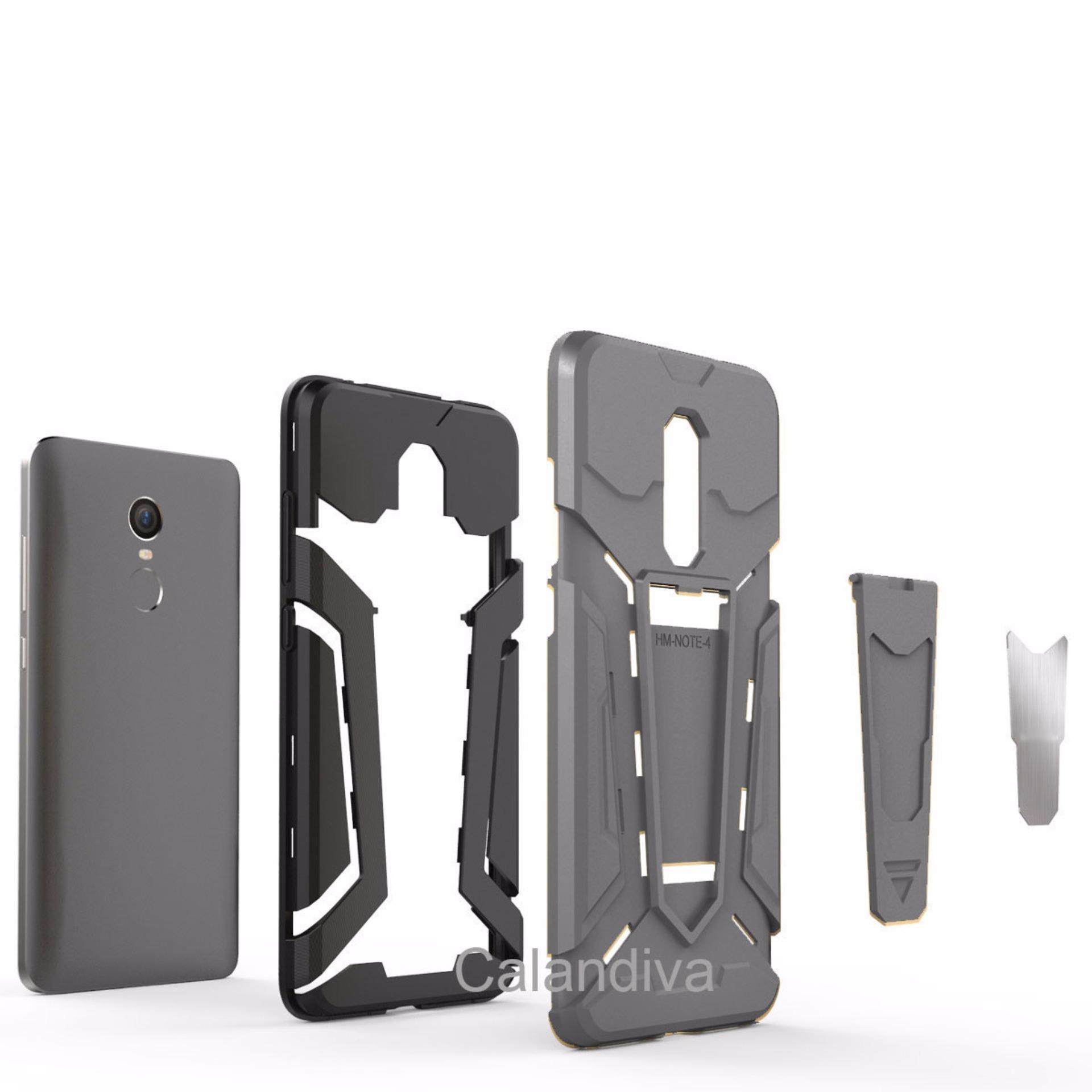 Calandiva Dragon Shockproof Hybrid Case For Xiaomi Redmi Note 4x Luxury Tempered Glass Premium 5 Hitam Transformer Kickstand Slim Armor Hardcase
