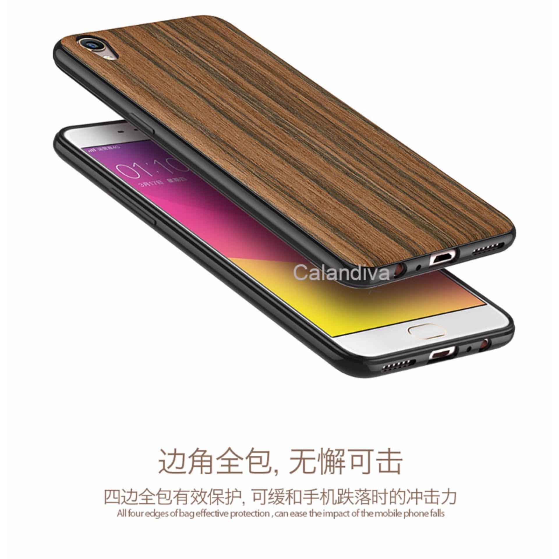 Calandiva Wood Texture Slim Softcase for Oppo F1 Plus / R9 - Coklat .
