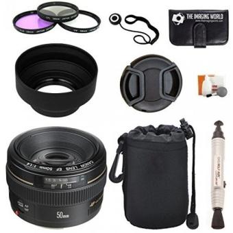 Canon EF 50mm f/1.4 USM Standard & Medium Telephoto Lens for Canon SLR Cameras + Pouch + Filter Kit + Lens Cleaner + Digital Camera Lens Accessories Bundle - intl