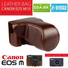 Canon EOS M10 Leather Bag / Case / Tas Kulit Kamera Mirrorless 15-45 MM / 18-55 MM - Coklat Tua