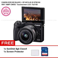 CANON EOS M3 + EF-M15-45 IS STM KIT (BLACK) 24.2MP WiFi Touchscreen LCD + SanDisk 8gb + Screen Protector
