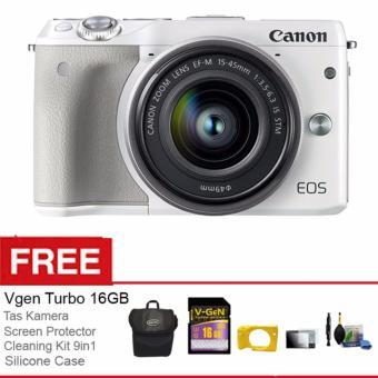 Canon EOS M3 Kit EF-M 15-45 IS STM - Putih + Free Aksessories Kamera