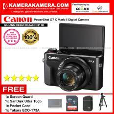 Canon Powershot G7X Mark II Kamera Pocket (Garansi Resmi Datascrip 1th) Wi-Fi 20.1 MP Tilting LCD Touchscreen Free Screen Guard + SanDisk Ultra 16gb + Pocket Case + Takara ECO-173A