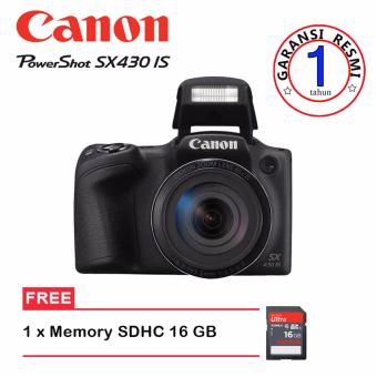 Canon PowerShot SX430 IS - 20.5MP - Hitam + Memory SD 16 GB (Garansi Resmi)