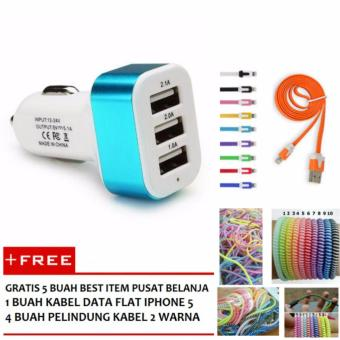 Terbaik Murah Car Charger 3 Port USB Biru Gratis 1 Buah Kabel Data .