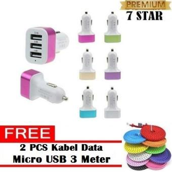 Charger Mobil 7STAR - Car Charger 5.1A 3 Port Charger Hp di Mobil + FREE 2 PCS Kabel Data Tali Sepatu Micro USB 3 Meter