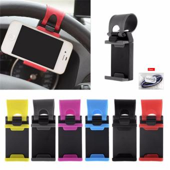 JUAL Car Steering Wheel Phone Socket Holder – Random Colour + Free Ikat Rambut Polkadope – 1 Pcs TERMURAH