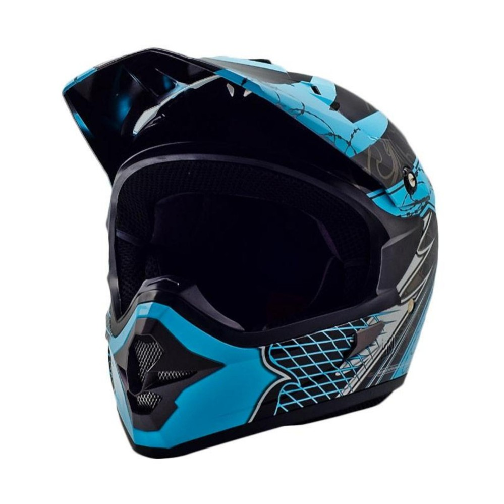 Cargloss MXC AJR Blue Helm Motocross - Deep Black