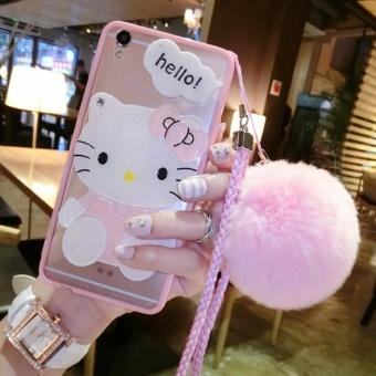 Kartun Lucu Cermin Case untuk Apple IPhone 7 Plus (pink + Rambut Ball KT)