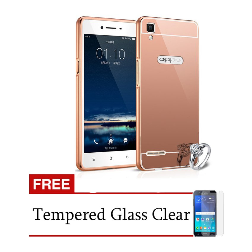 ... Case Aluminium Bumper Mirror for OPPO F1 Selfie Expert - Rose Gold + Free Tempered Glass ...