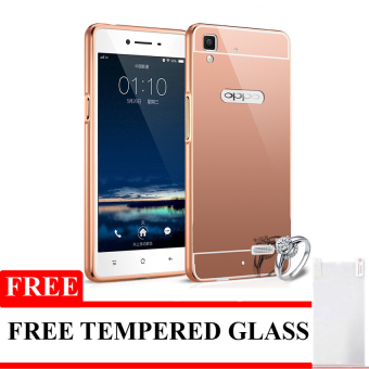 Case Aluminium Bumper Mirror for OPPO R7S - Rose Gold + FreeTempered Glass