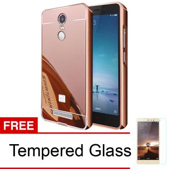 Case Aluminium Bumper Mirror for Xiaomi Redmi Note 3 - Rose Gold + Free Temperd Glass