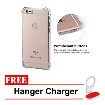 Case Anti Shock / Anti Crack Elegant Softcase for Apple Iphone 6 /6S - Clear + Free Hanger Charger