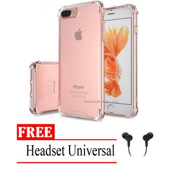 Case Anti Shock / Anti Crack Elegant Softcase for Apple Iphone 7 /7s - Clear + Free Headset Universal