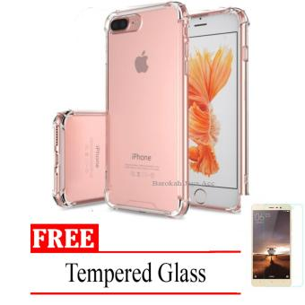 Case Anti Shock / Anti Crack Elegant Softcase for Apple Iphone 7+ (plus) / 7s + (plus) -  Clear + Free Tempered Glass