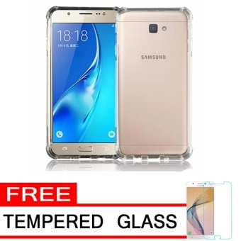 Case Anti Shock / Anti Crack Elegant Softcase for Samsung Galaxy J7 Prime -  Clear + Free Tempered Glass