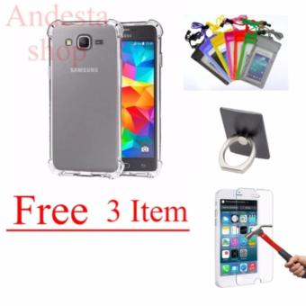 Case Anti Shock Anti Crack Softcase Casing for Samsung J2 Prime - Clear Free Tempered Glass