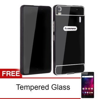 Case Bumper Chrome with Backcase Mirror untuk Lenovo A7000 - Hitam+ Gratis Tempered Glass
