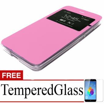 Case Flip Cover For Xiaomi Redmi Note 4 + Free Temperedglass - Pink .