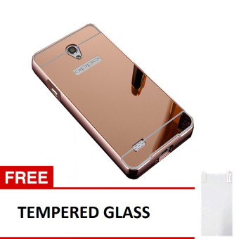 Case For Oppo Joy 3 / A11 Bumper Slide Mirror - Rose Gold + FreeTempered Glass