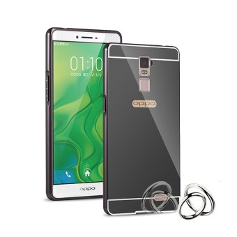 Case for Oppo R7 Plus Alumunium Bumper With Mirror Backdoor Slide-Hitam
