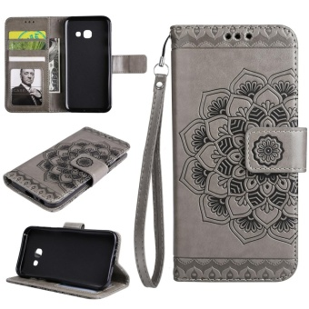 Case for Samsung Galaxy J7 Prime Flower Pattern with Wallet Card Slots and Hand Strap PU