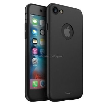 Case Front Back 360 Degree Full Protection for Apple iPhone 7 - Black + Tempered Glass