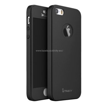 Case Front Back 360 Degree Full Protection for Apple iPhone SE / 5s/ 5 - Black + Tempered Glass
