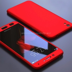 Case Front Back 360 Degree Full Protection for OPPO Neo 9 ( A37 )  - Red + Tempered Glass