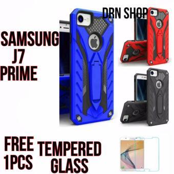 Case Hardcase Samsung Galaxy J7 Prime Phanton Kickstand Robot Free Tempered Glass