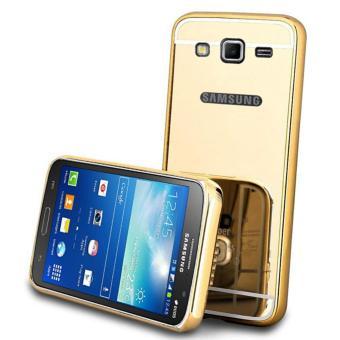 BELI SEKARANG Case Metal for Samsung Galaxy J2 Prime Aluminium Bumper With MirrorBackdoor Slide - Gold Klik di sini !!!