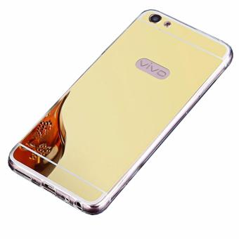 Case Metal for Vivo V5 (Y67) Aluminium Bumper With Mirror Backdoor Slide - Gold