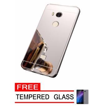 Case Metal for Xiaomi Redmi 4 Prime Aluminium Bumper With Mirror Backdoor Slide - Silver +