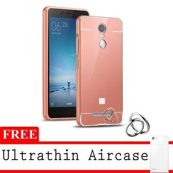 Case Mirror Aluminium Bumper untuk Xiaomi Redmi Note 2 Pro - RoseGold + Gratis Ultrathin
