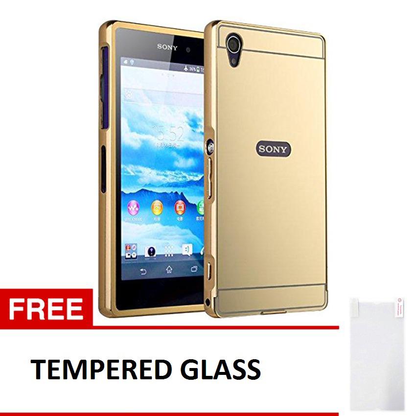 ... Case Sony Xperia Z1 Alumunium Bumper With Mirror Backdoor Slide Emas Gratis Tempered Glass