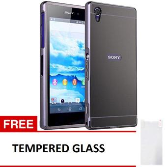 Case Sony Xperia Z1 Alumunium Bumper With Mirror Backdoor Slide - Hitam + Gratis Tempered Glass