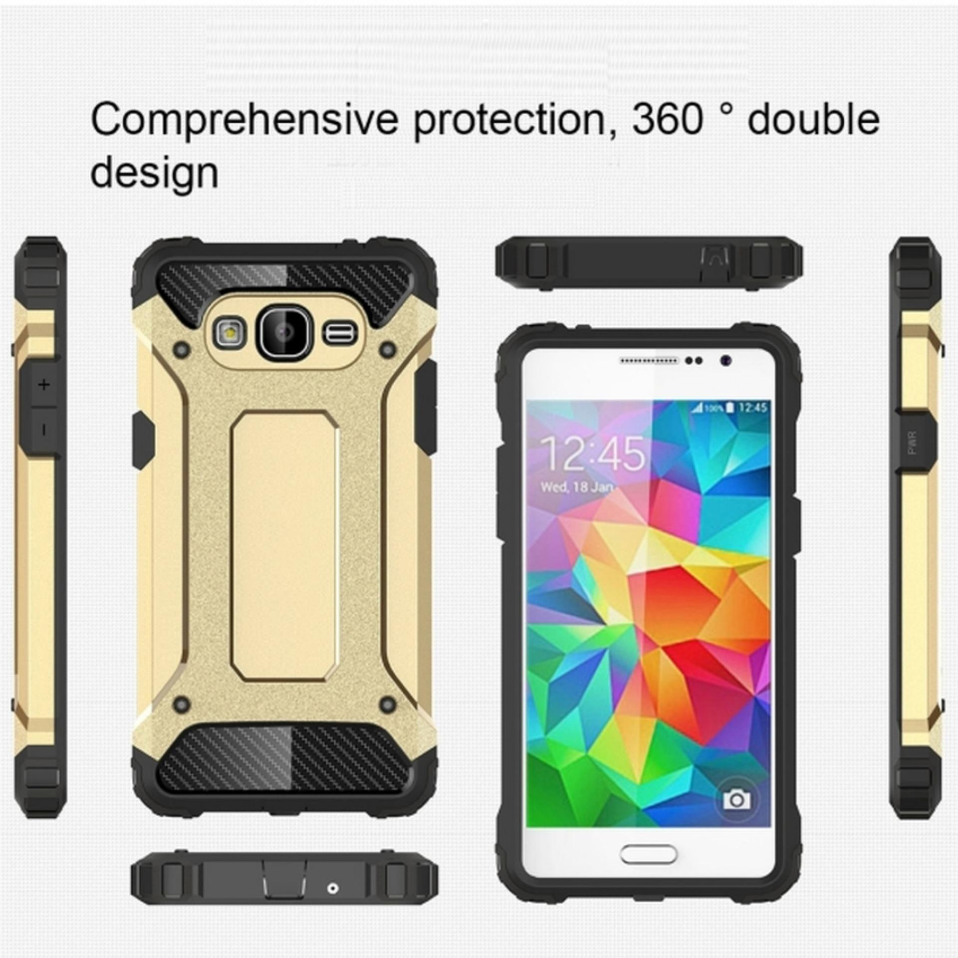 Case Tough Armor Carbon for Samsung Galaxy J1 2016 - Gold + Free Handsfree .