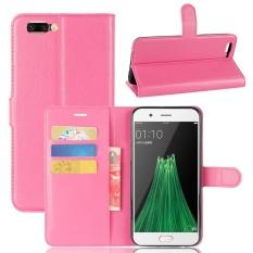 Case untuk OPPO R11 Plus Litchi Grain PU Dompet Kulit Case dengan Slot Kartu dan Flip Stand Function Penutupan Magnetik Cover (Hot Pink) -Intl