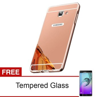 Case Untuk Samsung Galaxy A3 2016/A310 Alumunium Bumper With Mirror Backdoor Slide - Rose