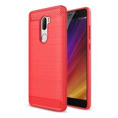Case untuk Xiaomi Mi 5 S PLUS Soft TPU Anti-Slip Carbon Fiber Tekstur Brushed Case Cover-Merah -Intl