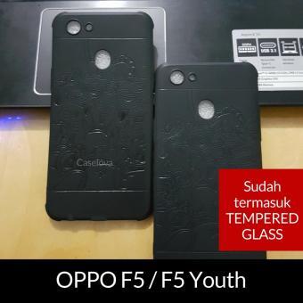 Caselova Premium Dragon Shockproof Hybrid Case for OPPO F5 / F5 Youth - Black + Gratis