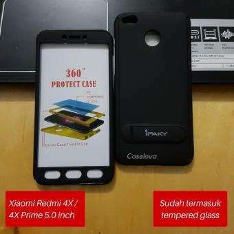 Hitam + Rounded Tempered Glass Terbaru. Caselova Premium Front Back 360 Degree .