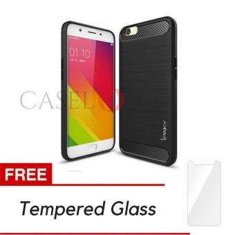 Caselova Premium Quality Carbon Shockproof Hybrid Case for Oppo F1s / A59 - Black + Gratis