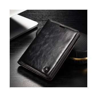 CASEME Passport Silver Edition Oil Wax Leather Case Card Holder for BlackBerry - intl